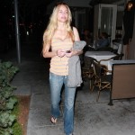 Christina Fulton seen leaving dinner at Porta Via in Beverly Hills, before sharing in the Victorious news