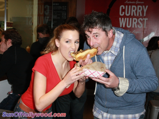 Jordan Carver and The Owner Of The Currywurst US, Kai Loebach, Share a really big Sausage