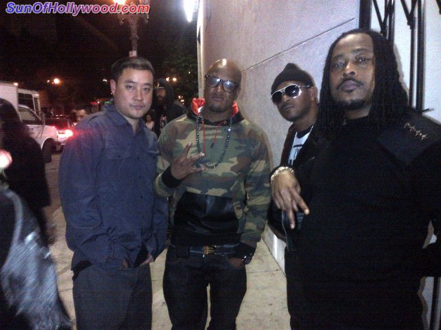 "Garry ""Prophecy"" Sun... Cavie... T-Mo... and Khujo... Reppin Goodie MOB and Dungeon Family... Hollywood District"