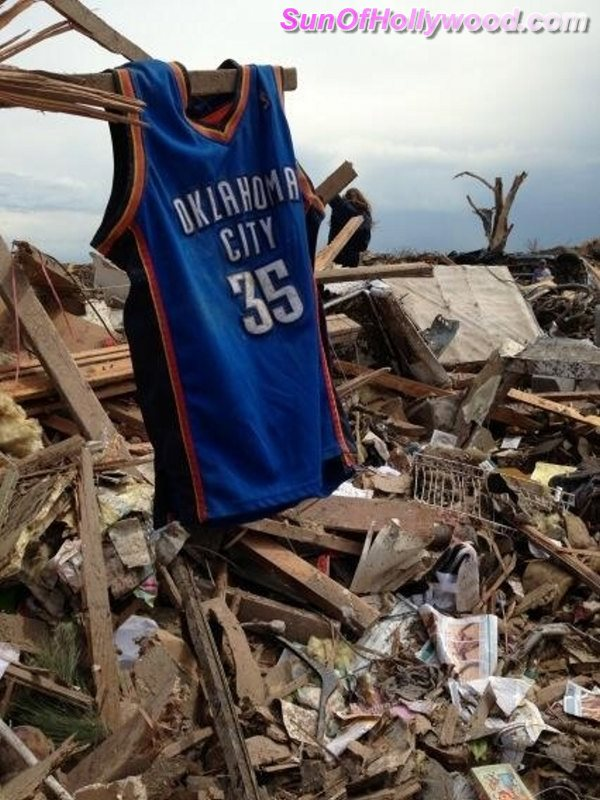 The Vision Of A New Super Hero And His Cape... Kevin Durant's OKC Jersey Over Moore, Oklahoma